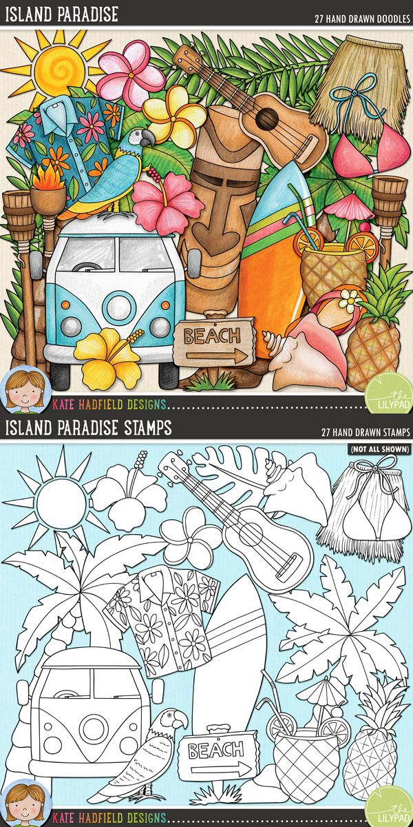 Tropical island digital scrapbooking elements | Cute beach holiday / vacation clip art | Hand-drawn doodles for digital scrapbooking, crafting and teaching resources from Kate Hadfield Designs! Click to see projects created using these illustrations!