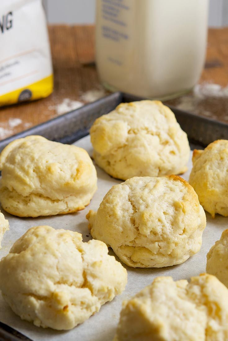 Never-Fail Biscuits (Scones) Recipe: Just 2-ingredients: self´rising flour and heavy cream. Also makes cinnamon rolls. MUST TRY!! There are other recipes out there substituting cream for yogurt, evaporated milk, buttermilk, sourcream.