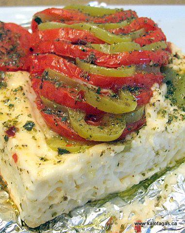baked feta. Greek food