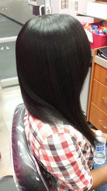 Relaxed, long, and HEALTHY hair. Her secret? She stretching her relaxers out a minimum of  weeks.