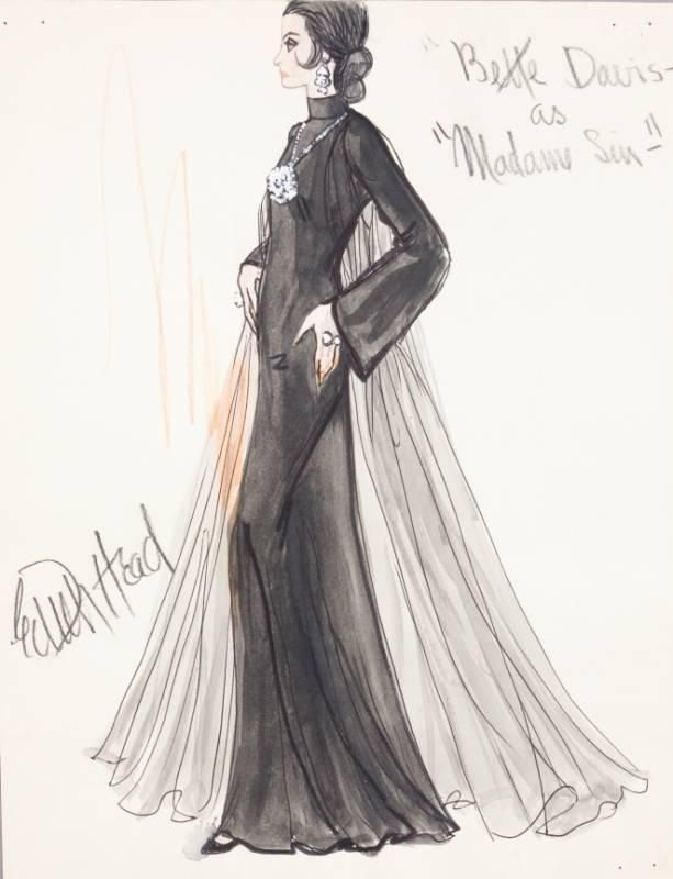 "BETTE DAVIS COSTUME SKETCH BY EDITH HEAD in ""Madame Sin"" a 1972 ABC television movie"