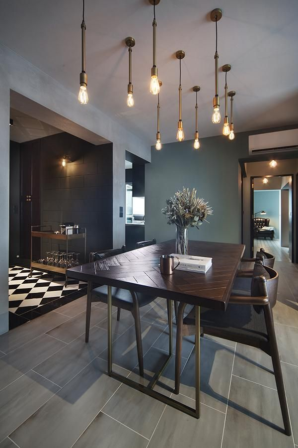 The Foyer Clad In Black Is An Impressive Visage With The Flooring Covered In Classic Bla Dining Room Industrial Modern Office Decor Mid Century Office Decor