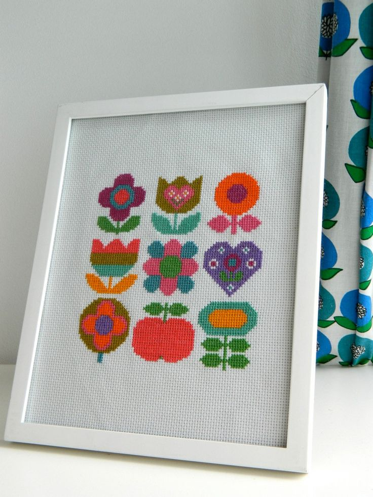 Original Retro Cross Stitch Pattern by alice apple - Floral Rainbow Mix PDF. £3.50, via Etsy.