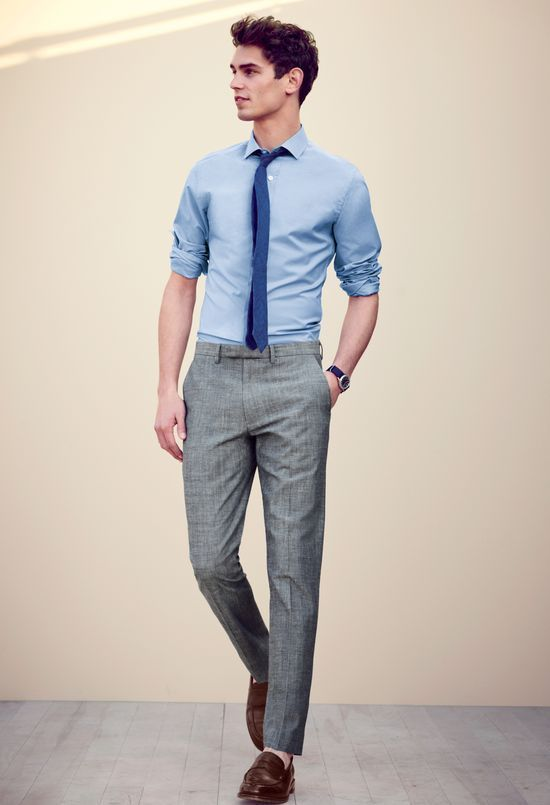 gray slacks with tie - Google Search