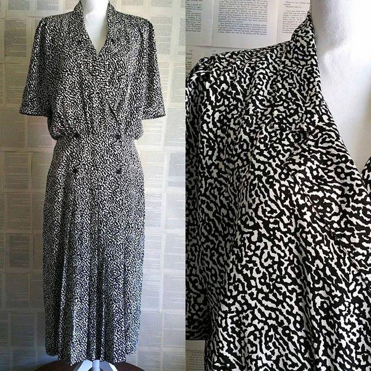 Vintage 90s does 40s Black & White Dress - Size 14-16 by MyVintageSundays on Etsy
