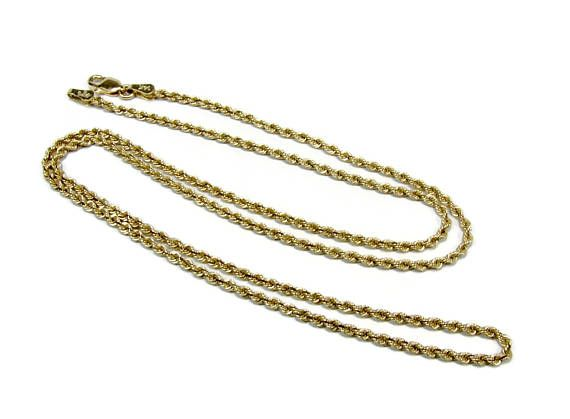 14K Gold Rope Chain Estate Jewelry 3mm Chain Gold Necklace