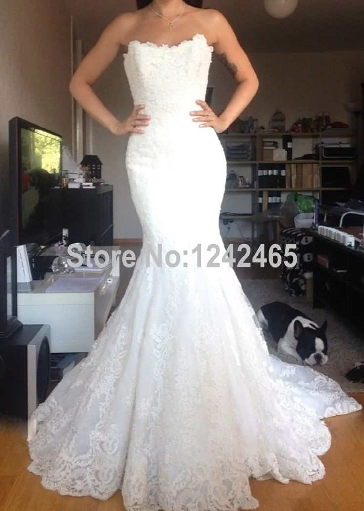 Find More Wedding Dresses Information about Trumpet Strapless Vestido De Noiva Sereia Handmade White Mermaid Lace Wedding Dress From China MC64,High Quality dress mark,China dress jilbab Suppliers, Cheap dress yellow from TBNA Bridal on Aliexpress.com
