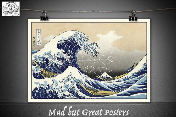 The Great Wave off Kanagawa - Wood Block Print - hokusai, travel poster, vintage, wall art, home decor, gift, japanese, fine art, transport by MadButGreatPosters on Etsy