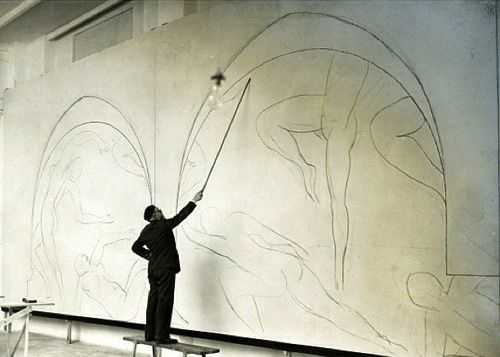 Henri Matisse working on The Dance, 1910