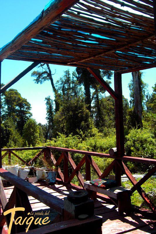 Terraza Rustica hecha con Coihue (Roble Magallanico)  y techo de varas de Quila (Bambú Chileno)