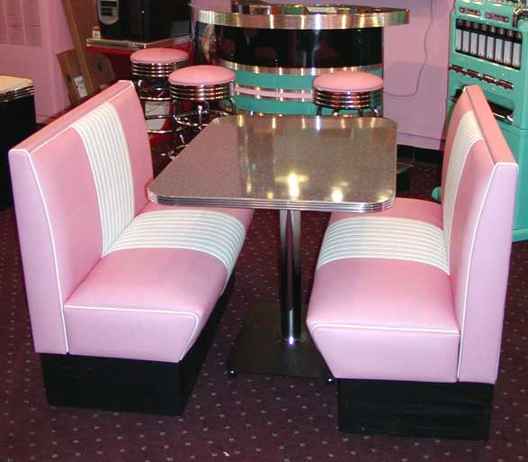 pink diner seating