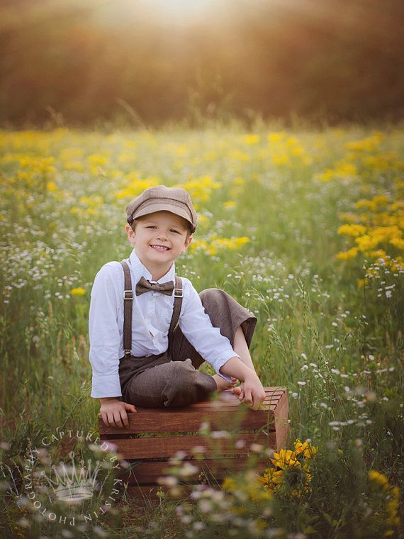 Ring Bearer outfit - brown vintage wedding - Newsboy hat suspenders pants bow tie - toddler boy ...