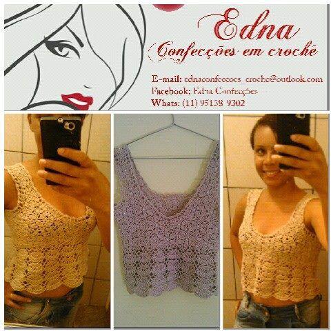 Linda blusa com pérolas. Peças exclusiva do Edna Confecções.