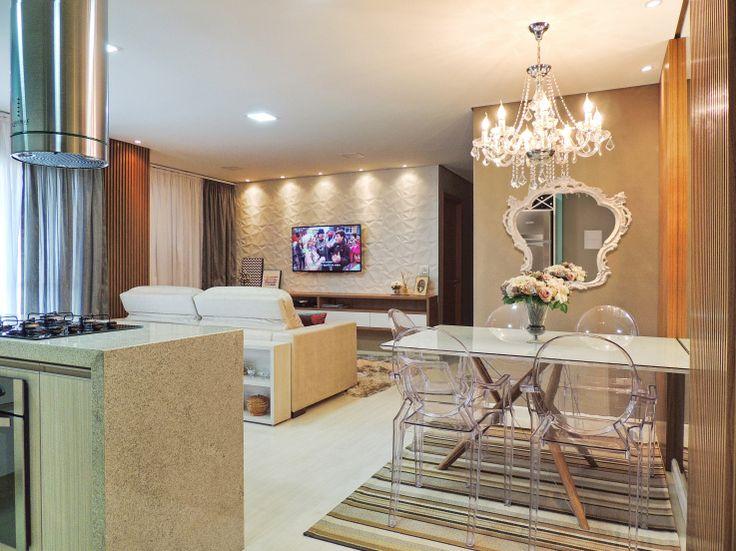 Sala integrada e colorida para começar a vida a dois - Casa