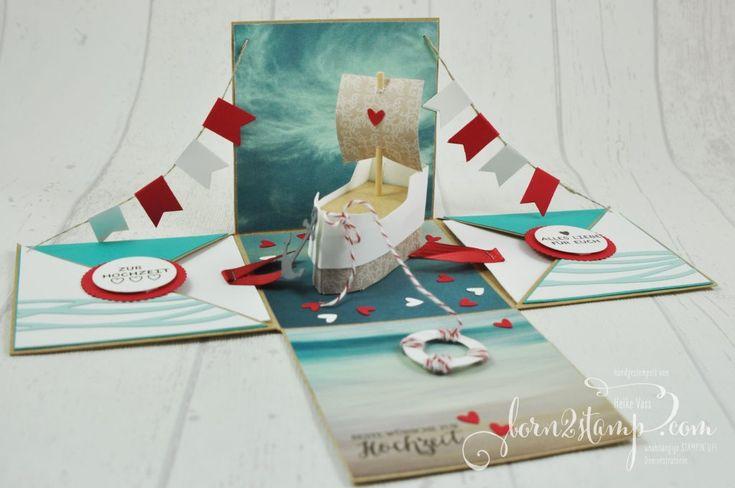 born2stamp STAMPIN' UP! Explosionsbox Hochzeit - wedding - Boot - Rosenzauber - Designer Grusselemente - DSP im Block Stille Natur