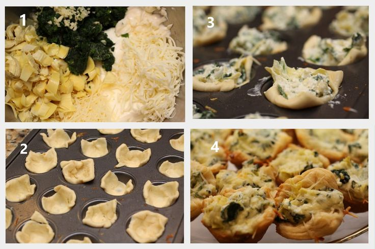 Stuffed Spinach Artichoke Bites! -  Cut Crescent roll dough into squares (size of the square depends on the size of the muffin pan... you could make HUGE ones if you want lol)  Stuff with the mix and bake... so easy!!!