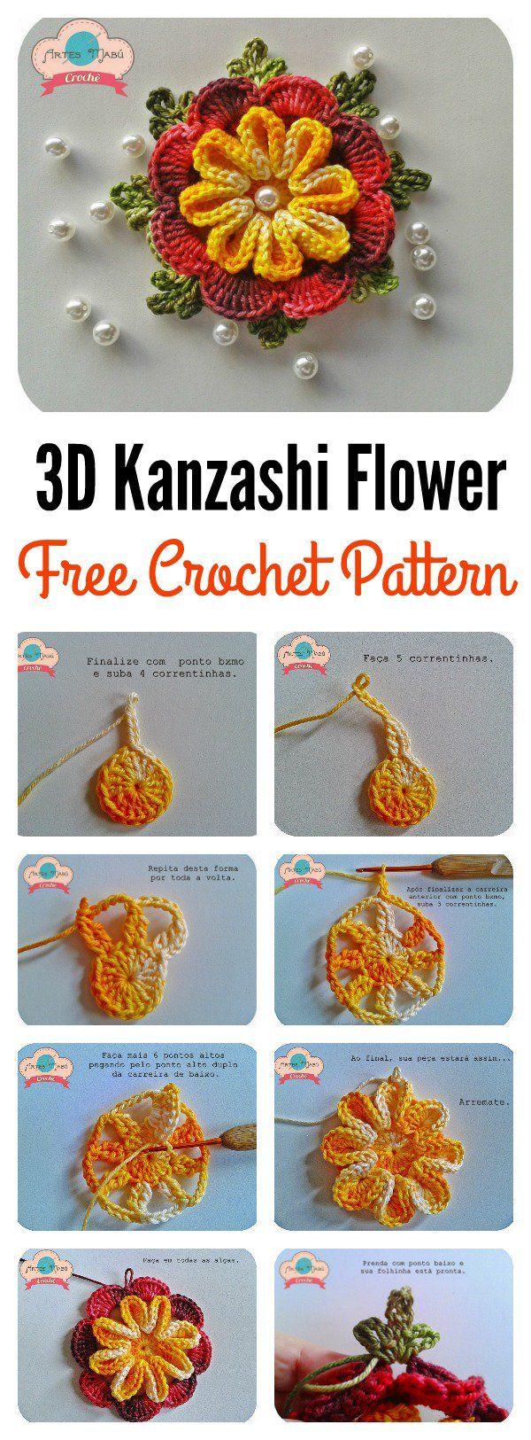 3D Kanzashi Flower Free Crochet Pattern