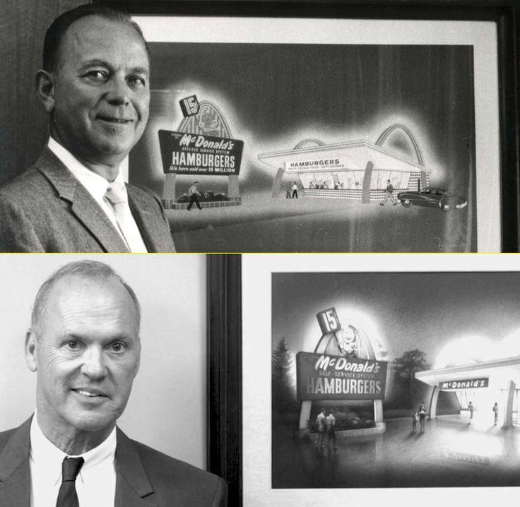 """""""Ray Kroc con los arcos dorados de fondo – M. Keaton en la peli de McDonald's"""" http://www.weimark.es/brann/mcdonalds-la-historia-de-el-fundador-de-la-comida-rapida/ #ElFundador"""