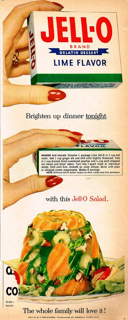 """Ginger Ale Salad (1953)...  another crisp vegetable salad sealed in green gelatin.  The ad says, """"The whole family will love it!""""  I doubt it.  LOL: Vintage Recipes, 1950S, Especially, Ale Salad, Jello Salads, 1950 S, Vintage Ads, Ginger Ale"""