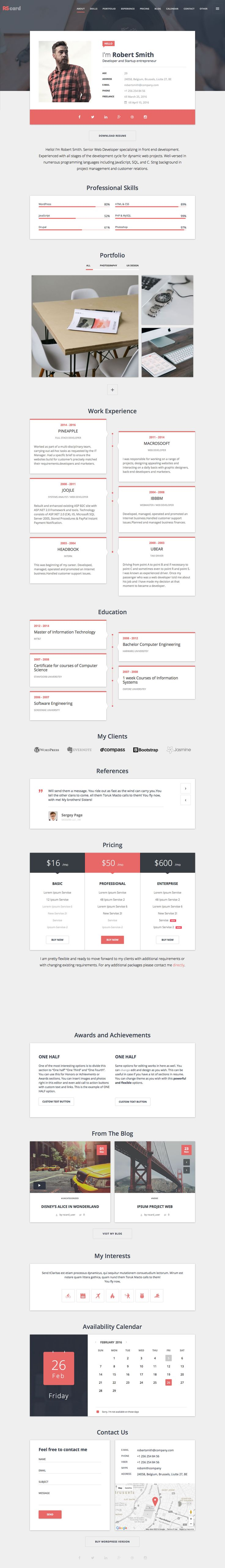 'RS Card' is a One Page WordPress theme suited for anyone after a long scrolling resume, CV or portfolio. The theme features a clean card-style layout and adheres to Google's Material Design standard. The demo showcases a portfolio example but there are also demos for musicians and doctors. Features include intro portfolio card, timeline, skill graph, portfolio gallery with filter, pricing table and a neat availability calendar. Good work this by Px-lab.