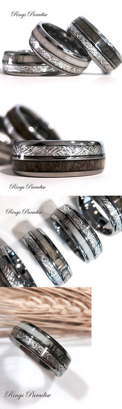 Sets without Stones 177019: Mens And Women Antler Elks Rings, Meteorite Inlay Tungsten Wedding Bands 8Mm BUY IT NOW ONLY: $220.0