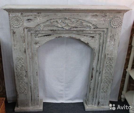 Фальш-камин. Стиль шебби-шик Каминный портал изготовленный из дерева, цвет серый состаренный.  Размер 120х120 см.