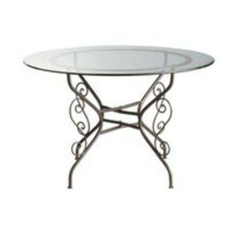 Table ronde de salle à manger en verre et fer forgé D 120 cm Toscane