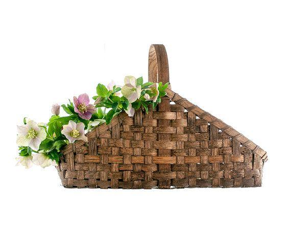 Vintage Basket Split Oak Woven Garden Basket by PlumsandHoney