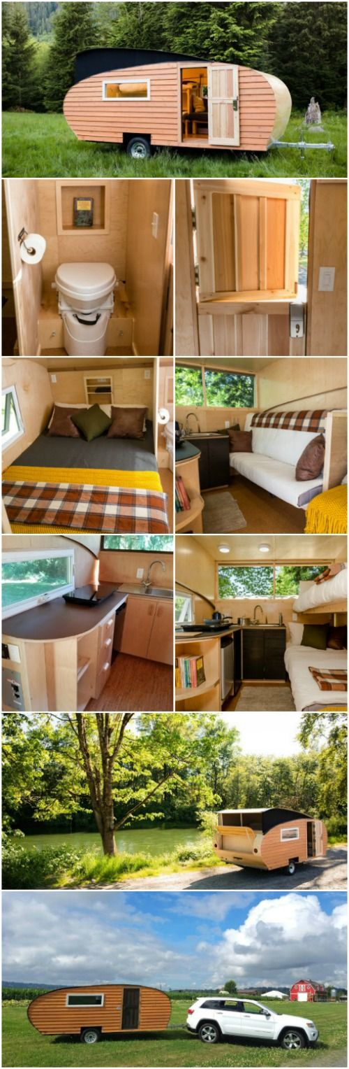 Hit the Road in a Homegrown Trailer that You Can Own or Rent! The Homegrown Trailer is a darling teardrop trailer that's 100% solar powered and off-grid. They're a little of 19 feet long and have about 94 square feet inside and can sleep up to four people comfortably. The base package sells for $32,500 or you can rent one starting at $129 a night if you're not quite ready to commit to the Tiny House Movement.