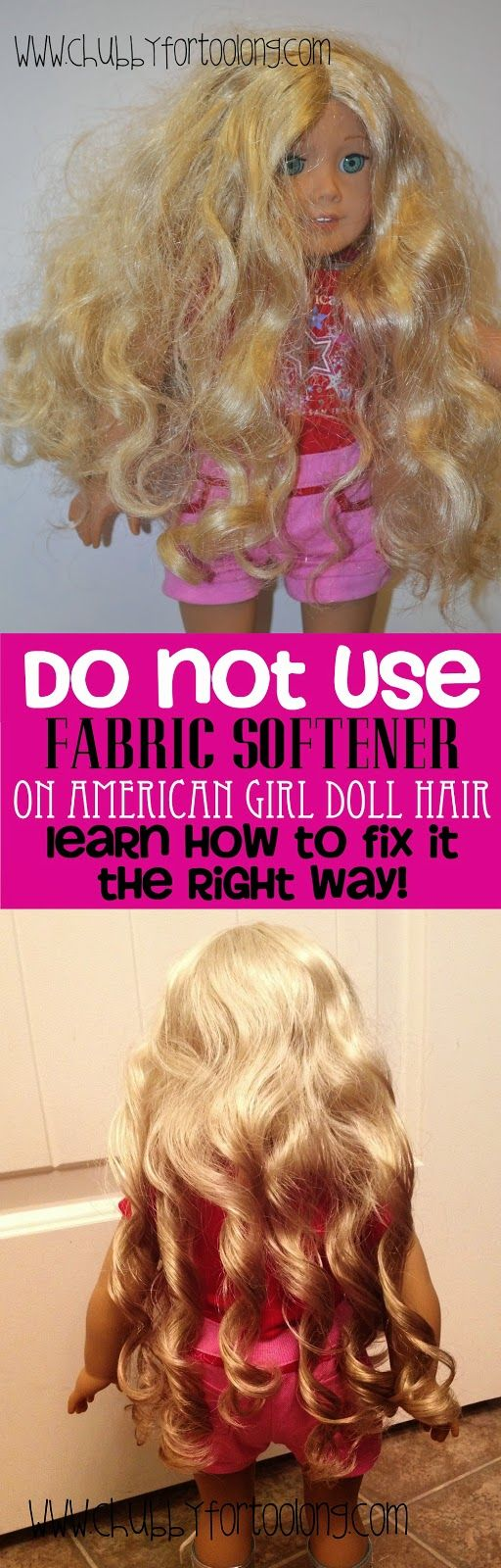 Chubby for too long!   How to fix Curly American Girl Doll Hair http://www.chubbyfortoolong.com/2015/03/how-to-fix-curly-american-girl-doll-hair.html