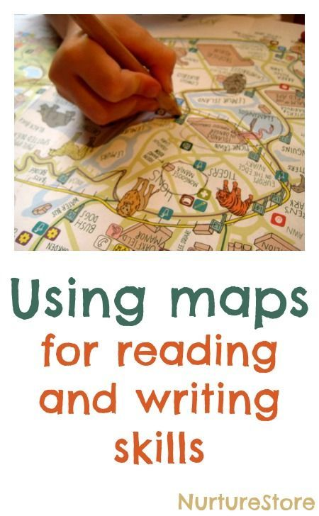 Great ideas for using maps for reading and writing skills :: map activities for children :: literacy center using maps