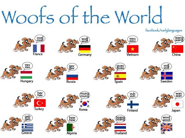 Fun! International dogs barking onomatopoeia