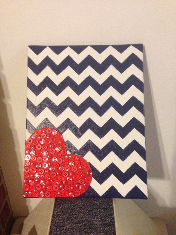 Red white and blue painted chevron canvas with button heart