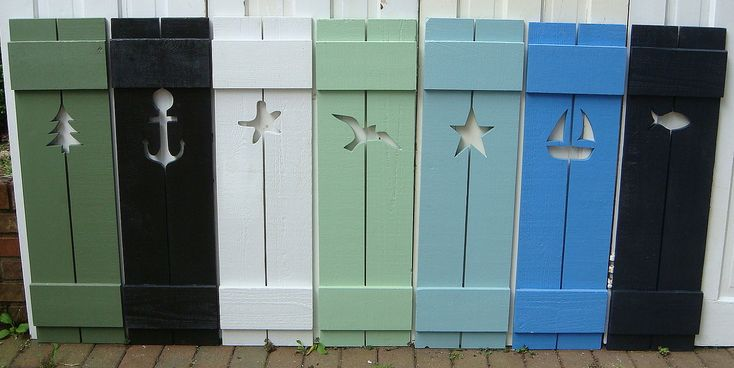 Etsy shop with custom shutters - I love the gull and the star and the starfish!