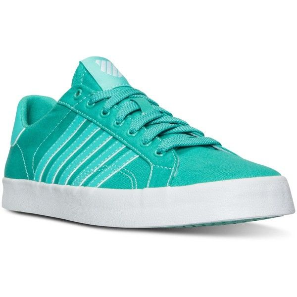 K-Swiss Women's Belmont So T Sherbert Casual Sneakers from Finish Line ($55) ❤ liked on Polyvore featuring shoes, sneakers, k swiss sneakers, canvas sneakers, k swiss footwear, plimsoll shoes and k swiss shoes