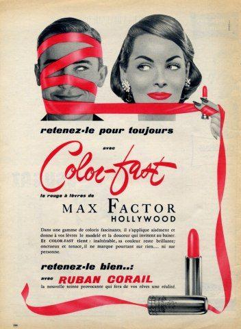 Max Factor (Cosmetics) 1956 Lipstick Vintage advert Cosmetics | Hprints.com