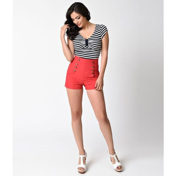 Unique Vintage 1940s Style Red High Waist Sailor Debbie Shorts ($27) ❤ liked on Polyvore featuring shorts, red, red sailor shorts, sailor shorts, nautical shorts, red high waisted shorts and retro shorts