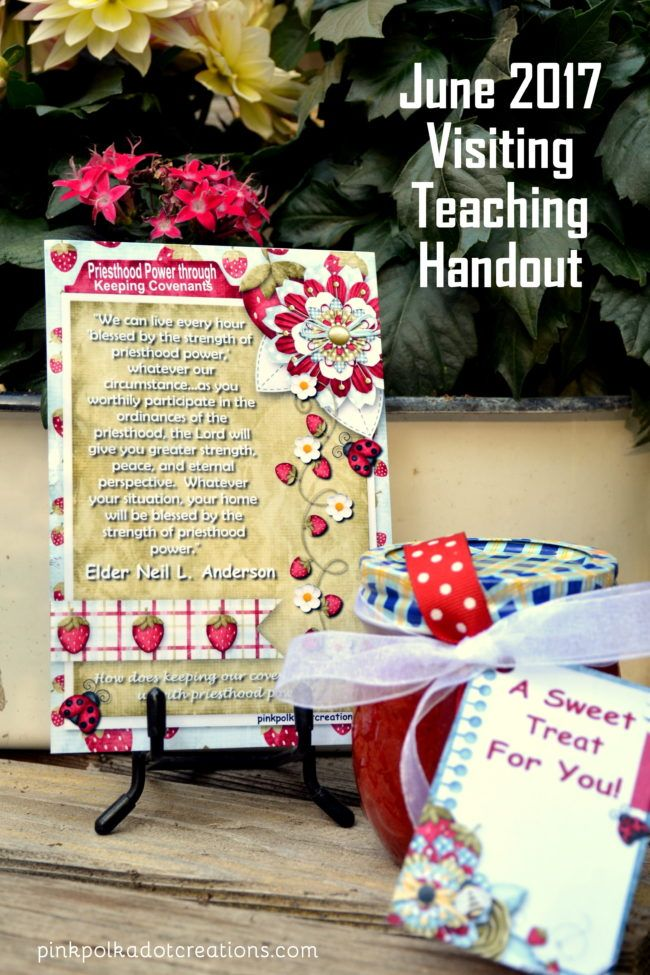 June 2017 Visiting Teaching Handout I hope everyone had a wonderful Memorial Day Weekend!  Are you all ready for summer to be in full swing?  I think that most of the kids are out of school now and it is time for some Lazy Summer Days!  (Who came up with this term?…Really…I  have never known … Continue reading June 2017 Visiting Teaching Handout →