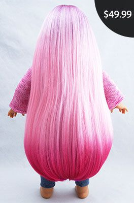 """Violet Pink Purple Ombre Luxury Doll Wig for Custom 18"""" American Girl Dolls, Extra Long, Fits Size 10-11"""" Wig Cap: Beautifully Custom Dolls Exclusive"""