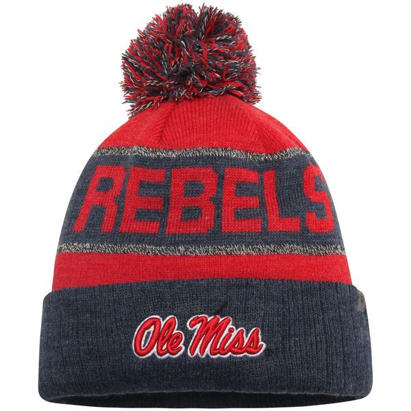 Ole Miss Rebels Top of the World Below Zero Cuffed Pom Knit Hat - Heather Navy/Red - $21.99