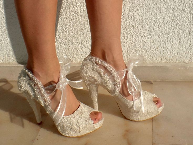 Scarpe sposa scarpe da sposa pizzo avorio di KUKLAfashiondesign