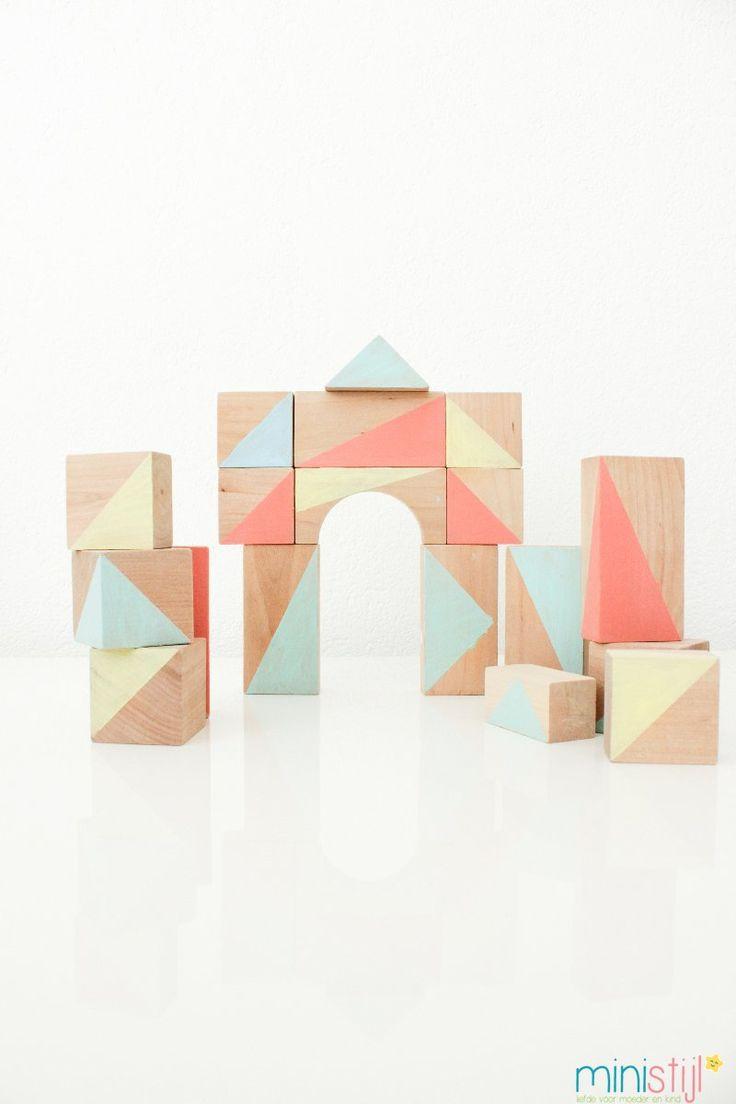 houten blokken verven