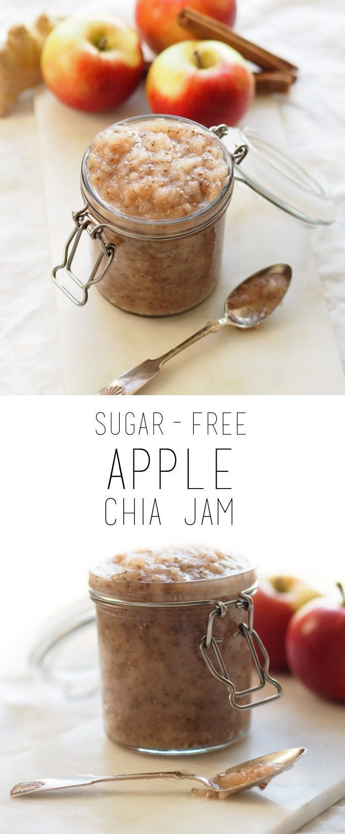 Sugar-free apple chia jam that is easy to prepare, healthy and delicious