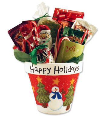 Great idea for Christmas gift...leave the Happy Holidays off and you can use the pot through the winter for a poinsettia!