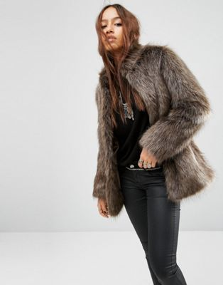 ASOS Jacket in Vintage Style Faux Fur
