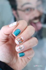 blue and nude native patterns water decal nail art