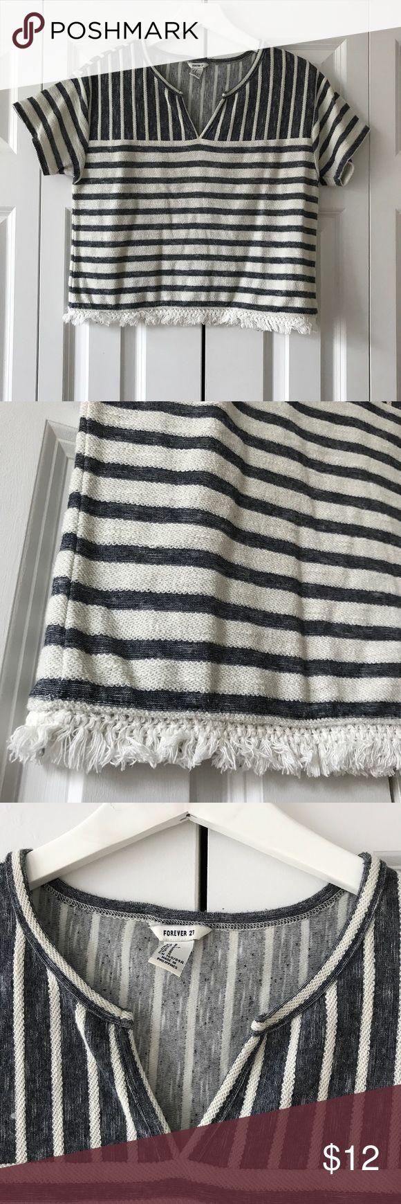FOREVER 21 Striped Nautical Fringe shirt FOREVER 21 Striped Nautical Fringe shirt Forever 21 Tops Tees - Short Sleeve