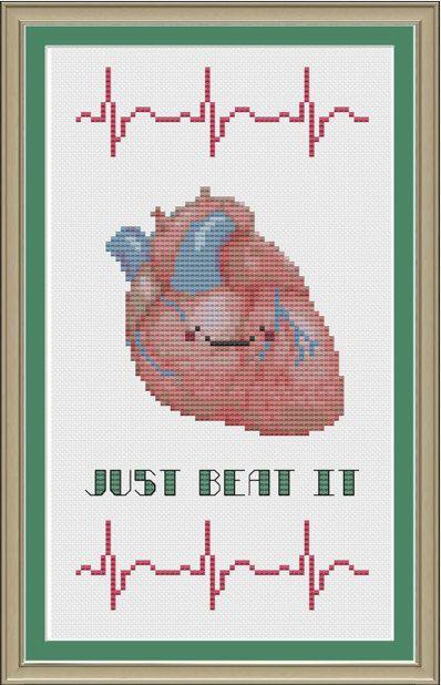 Just beat it: funny human heart anatomy cross-stitch pattern