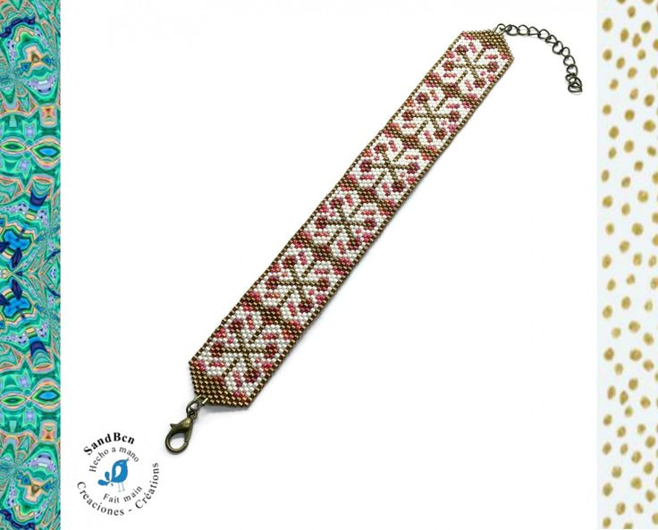 Bracelet Manchette Graphique, Perles Tissées à la Main, Large Bracelet, Bronze Rouge, Cadeau Noël Femme, Cadeau femme fait main