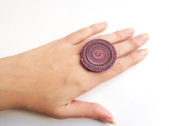 Multicolored Round Statement Ring Adjustable by FairyDustHC